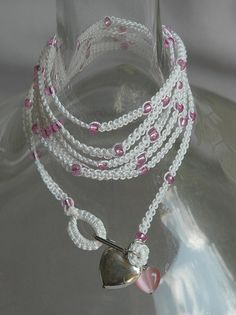White Tatted Wrap Bracelet With Pink Beads by 1creativestitches, $8.00