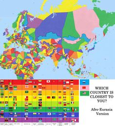 "Which country is closest to you? Afro-Eurasia version [[MORE]] prtscsysreq: ""  I suppose this is hardly MapPorn, but yeah, here's a ""Which country is closest to you?"" version of almost two-thirds of the world. I gave Asia a second try, after doing..."