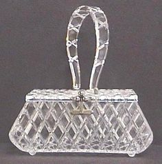 Carved Lucite purse box - Cinderella's handbag?