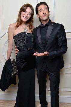 Carla Bruni-Sarkozy in Maxime Simoëns and Adrien Brody