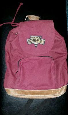 0b60cad7a5ab Vintage GUESS Backpack Bag Dark Red