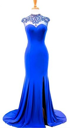 a02dfe978bd4 The New Mermaid Has A Royal Blue Dress With Lace   prom style ...
