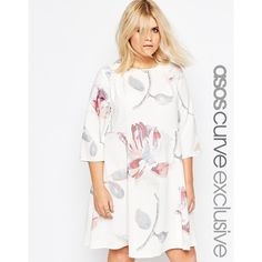 ASOS CURVE Swing Dress In Oversized Floral Print ($72) ❤ liked on Polyvore featuring dresses, multi, plus size, plus size dresses, white trapeze dress, tall plus size dresses, white swing dress and white loose dress