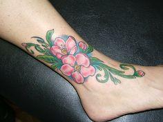 Apple blossom tattoo Apple Blossom Tattoos, Tattos, Watercolor Tattoo, Piercings, My Style, Nature, Ideas, Peircings, Piercing