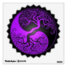 This stylized yin yang features a twisted tree growing from the center of the design. The intricate branches that extend into the top of the pattern are a mirror image of the roots that hang below. This stunning design is a beautiful representation of the balance of nature.