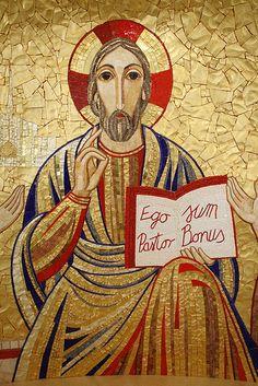 The Good Shepherd Catholic Art, Religious Art, Jesus Walk On Water, Society Of Jesus, Church Icon, Catholic Pictures, Roman Church, Mosaic Portrait, The Good Shepherd