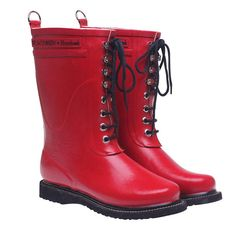 b7f311ddc56 So into this design on Fab! Lace Up Rainboot Mid Red  FabForAll