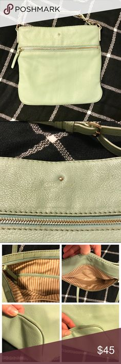 Kate Spade Cobble Hill Ellen Crossbody Bag Authentic Kate Spade Ellen Crossbody in Dusty Mint. The bag has some signs of wear and the gold logo print on the front is a bit faded (see second pic). Top zipper area shows wear on the leather edging and the corners are a bit scuffed. Lining has a couple of minor stains near the pocket. No rips or tears in the leather or damage on the strap. Still in good condition with lots of life left! Priced to reflect wear and faded logo. kate spade Bags…