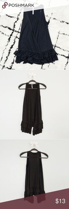black ruffle bottom vest black stretchy vest / sleeveless cover-up with ruffle trim lining the bottom Tops