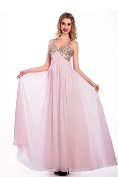 AHP078  Floor-length Pink Chiffon V-neck Prom Dresses Homecoming Dress,Sexy Bridesmaid Dress ,Cheap Prom Dress