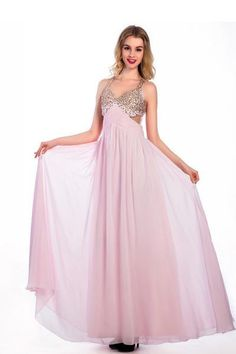 AHP078  Floor-length Pink Chiffon V-neck Prom Dresses Homecoming Dress,Sexy Bridesmaid Dress ,Cheap Prom Dress