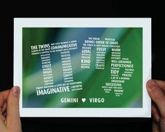 Gemini and Virgo, Romantic gift for engagement, wedding or anniversary. Frame it or use as greeting card. by PePoDesign on Etsy