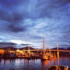 Sunset on Sitka harbor. Sitka alaska