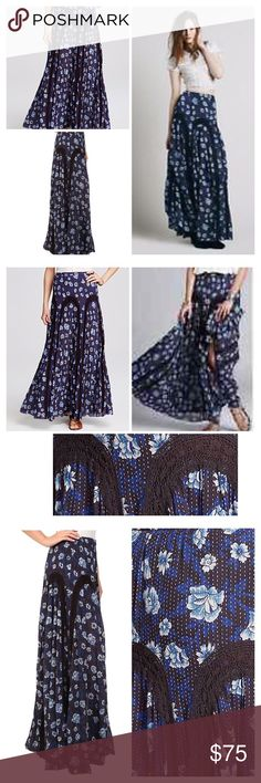 "Free People Printed Zoe Maxi Skirt Misty Combo B44 This flowy, country-chic maxi skirt strikes a wanderlust note with its dotted floral print, charming lace details and unfinished hem. Elasticized waist. 100% cotton. Hand wash cold, dry flat. Skirt measures approx 41.5"" in length Partially lined Raw cut hem Lace trim panels Free People Skirts Maxi"