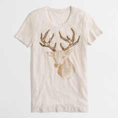 Factory sketched deer graphic tee short-sleeve tees ($45) ❤ liked on Polyvore