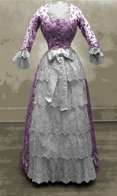 "Lavender damask day dress with tiered lace ""apron"", 1878."