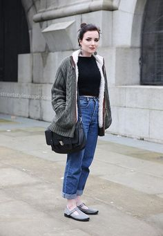 The Street Style Carousel › Street Style Snaps Style Snaps, Grey Cardigan, Carousel, Overalls, Normcore, Street Style, Pants, Fashion, Gray Cardigan