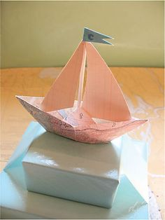 Boat gift topper    Sailboat made from vintage map