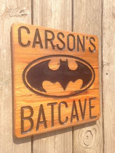 Batman Bat Cave Sign Super Hero Funny Room by LooseChipsWoodWork