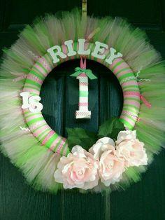 Birthday Tutu Wreath...an original by www.BlissyCouture.net