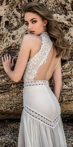 danny mizrachi 2018 bridal sleeveless high neck heavily embellished keyhole bodice flowy skirt bohemian sheath wedding dress keyhole back chapel train (5) zbv