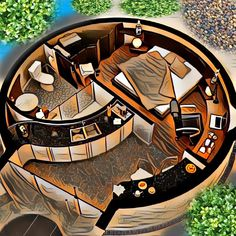 Interior of my Dome Silo House, Tiny House Cabin, Round House Plans, House Floor Plans, Home Room Design, Small House Design, Geodesic Dome Homes, Monolithic Dome Homes, Earth Bag Homes