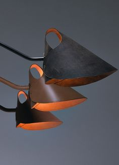 Let me introduce you to Mrs. Q - New Jacco Maris Design collection at Euroluce 2015 I think these are beautiful. Cool Lighting, Lighting Design, Industrial Lighting, Diy Luminaire, Leather Furniture, Lighting Solutions, Light Fittings, Leather Design, Lamp Shades