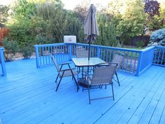 Bullard Bliss Blog Our Newly Stained Deck In Behr Neptune Blue