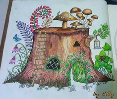 Floresta encantada / Floresta encantada tronco / Floresta encantada cogumelos / Jardim secreto / Johanna basford / #florestaencantadatopmais