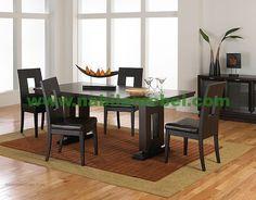 Meja Makan Sunday Modern berbahan baku kayu jati diproduksi pengrajin jepara berpengalaman