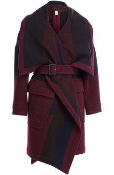 Embrace the blanket silhouette of the season with this enveloping coat from Burberry Brit. Made from a plush wool blend, the dramatic bordeaux hue is perfect for the colder months #Stylebop