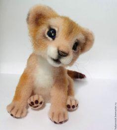 Купить Маленькая принцесса. Львёнок из шерсти. - бежевый, львенок, лев, интерьерная игрушка