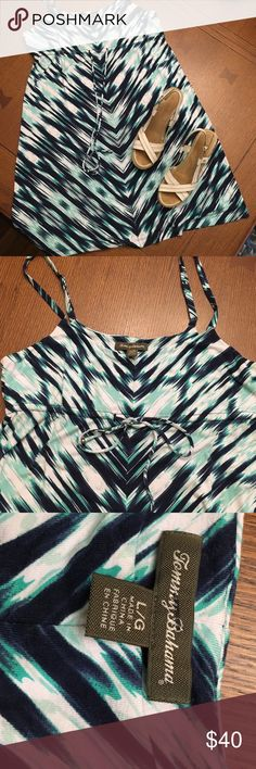 Water colored inspired Tommy Bahama Sundress Water colored inspired Tommy Bahama Sundress with drawstring empire waist. Adjustable shoulder straps. Worn once on vacation. Tommy Bahama Dresses Mini