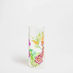 Glass vase with hand-painted leaf design