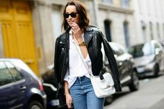 White shirt teamed with leather Winter Wardrobe, Dress Me Up, Bomber Jacket, Street Style, Style Inspiration, My Style, Leather, Jackets, How To Wear
