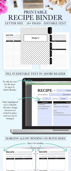 Keep all your favorite recipes organized with this beautiful and functional printable recipe binder kit. The printable recipe binder kit can be instantly downloaded and printed at home or a local print shop. *This is a digital file that you print at home or a print shop near you!*