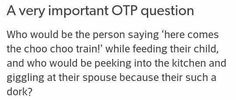 """Varian would be the """"train conductor"""" while feeding Trystan. Cassandra would be full-out laughing, not giggling."""