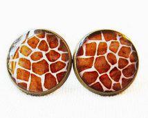Giraffe Print Stud Earrings - Animal Print Jewelry
