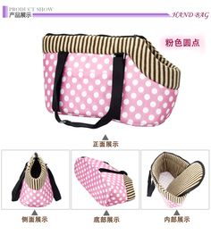 Pet dog bag carrier, carrying travel bag for dogs and cats leopard print small dog pink polka dots c Diy Dog Bag, Pet Bag, Diy Pour Chien, Dog Sling, Dog Carrier Bag, Dog Stroller, Dog Clothes Patterns, Dog Items, Pet Fashion