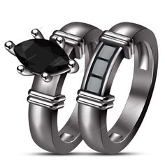 1.5 CT Marquise Real Genuine Diamond Black Gold Finish Prong Set Bridal Ring Set #aonedesigns #BridalEngagementRingSet