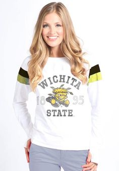 Wichita State Shockers T-Shirt - White Shockers Boatneck Long Sleeve Tee http://www.rallyhouse.com/shop/wichita-state-shockers-wishbone-5209-52090030 $38.99