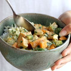 5-Ingredient Green Curry! packed with tons of veggies, an easy green curry sauce, and finished with golden raisins and cilantro. Easy! #curry #tofu #sweetpotato #vegetarian #vegan | pinchofyum.com