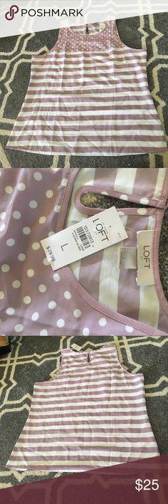 Selling this 🆕 Ann Taylor Loft Light Purple & White Tank Top on Poshmark! My username is: kaylam536. #shopmycloset #poshmark #fashion #shopping #style #forsale #LOFT #Tops