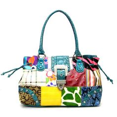 Patchwork Purse Drawstring animal print Bags Blue Handbags