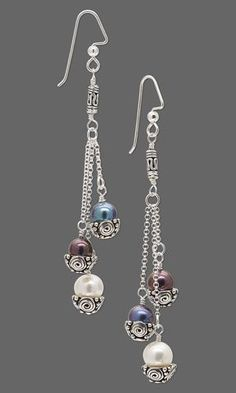 Earrings with Cultured Freshwater Pearls, Sterling Silver Beads and Chain and Antiqued Sterling Silver Bead Caps