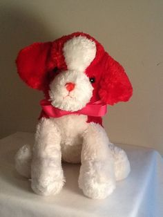 2013 BURTON & BURTON Plush ARTIE PUPPY DOG Stuffed Animal 11in Red White #BurtonBurton