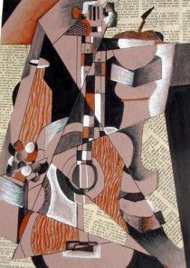 Cubism still life using mixed media and drawing- High school or middle school