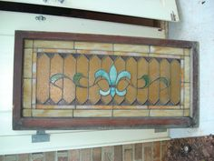 old window frame -beveled stain glass