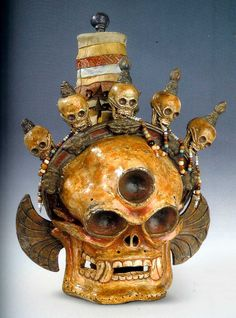 Citipati, Dance mask, paper mache Tibet-Mongolia 19th c  (archives Hardt & Son)