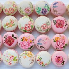 painted flower macarons